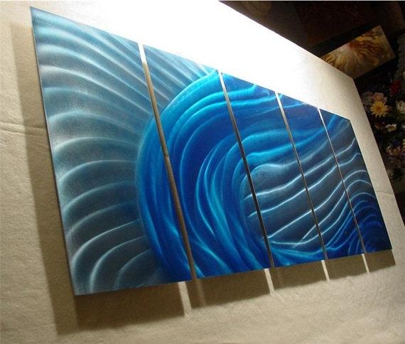 "Abstract Metal Wall Art Sculpture Original Contemporary Painting Modern textured Decor Fine Art by Nider 64""W x 24""H - Wave"