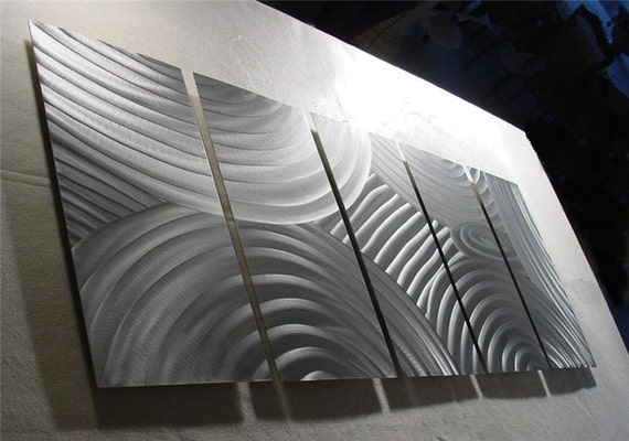 """Abstract Metal Wall Art Sculpture Original metal abstract art Painting Decor Fine Art by Nider - 64""""W x 24""""H - Silver Circles"""
