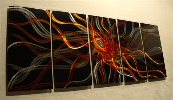 "Abstract Painting a Metal Wall Art Sculpture metal abstract wall art by Nider the Internationally Acclaimed Artist 64""W x 24""H - Amber Night"