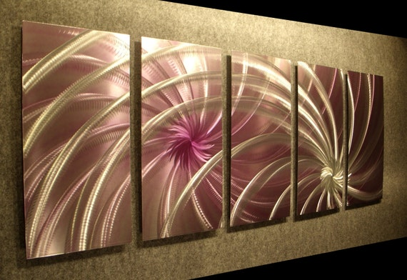 """Metal Wall Art Abstract Painting a Sculpture by Nider the Internationally Acclaimed Artist of Contemporary Decor 64""""W x 24""""H - Cosmic Swirl"""