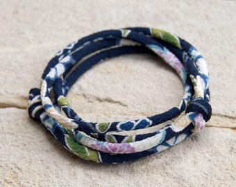 KIMONO FABRIC wrap Bracelet : Japanese chirimen kimono fabric cord adjustable wrap bracelet or choker necklace NAVY with gift box