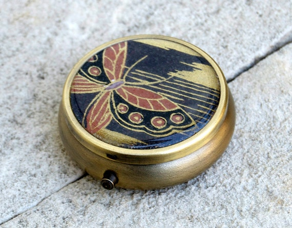Japanese yuzen chiyogami with antiqued bronze round Pill box / case (black butterfly)
