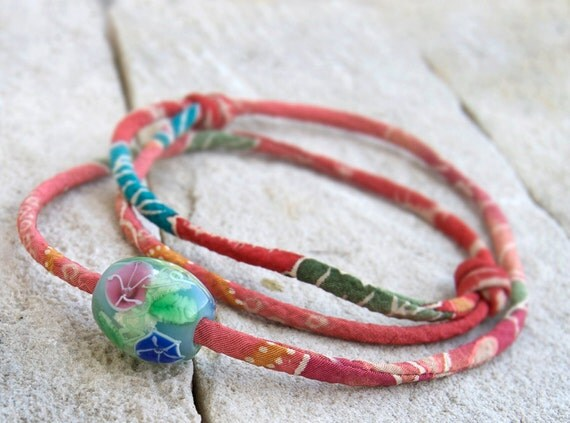 MORNING GLORY  lampwork tombodama glass bead charm with KIMONO fabric cord choker necklace with gift box