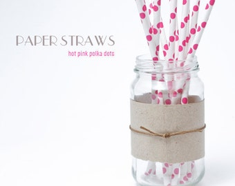 25 Hot Pink Polka Dots Paper Straws - Standard 7.75'' / 19.68cm