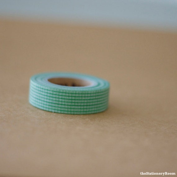 Japanese Washi Tape - Masking Tape roll in Frost Green Grid