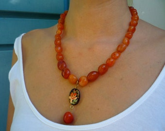 Gemstone necklace, Carnelian gemstones necklace, Semiprecious gemstone necklace, Orange gemstone necklace, Hand painted Agate pendant, OOAK
