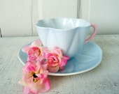 1930s Vintage Baby Blue Teacup and Saucer
