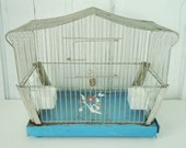Art Deco  Wire Birdcage with Feeders and Glass Panels