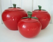 Retro Metal Apple Kitchen Canisters