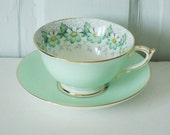 Stunning Minty Green with Daisies Teacup and Saucer
