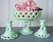 RESERVED Jadeite Green Pedestal Candy Dish and Candle Stick Holders