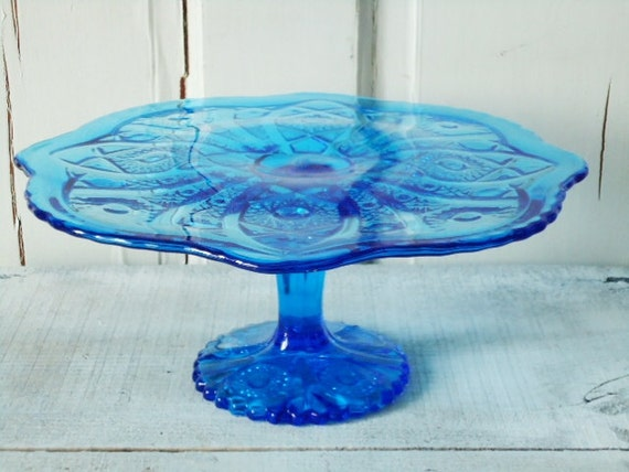Authentic Vintage Daisy and Coin Cobalt Glass Cake Stand by Imperial Glass Company