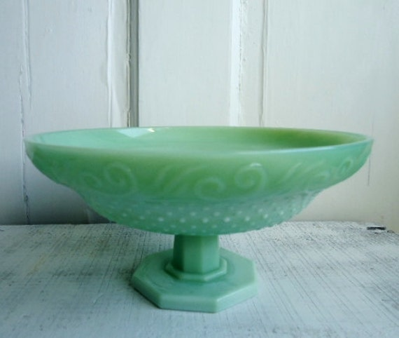 Jadeite Green Glass Pedestal Dish