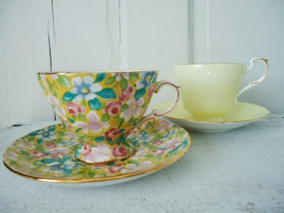 Teacup and Saucer Pair Mix and Match Pastel Yellow and  Chintz