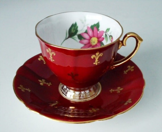 Ruby Red and Gold Gilt Vintage Teacup and Saucer