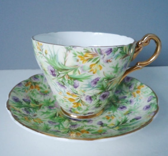 Chintz Tea Cup and Saucer Set, Spring Floral Lavender Green and Yellow