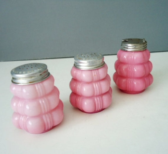 Antique Bubble Glass Shakers in Pink - Cased Consolidated Glass
