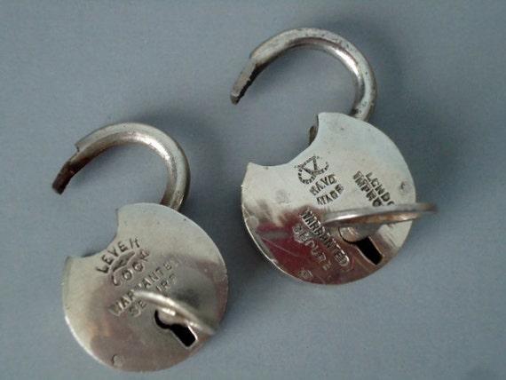 Vintage Nickel Plated Pad Locks - Pair of Vintage Pad Locks