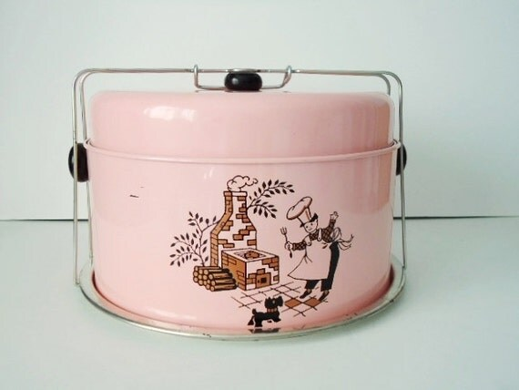 50s Pink Chef and Scottie Dog Metal Cake Carrier Cake Saver