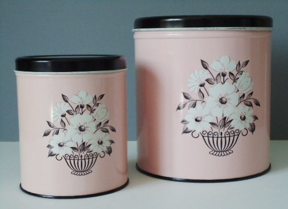 Vintage Kitchen Canisters - Pink and Black 50s Decoware