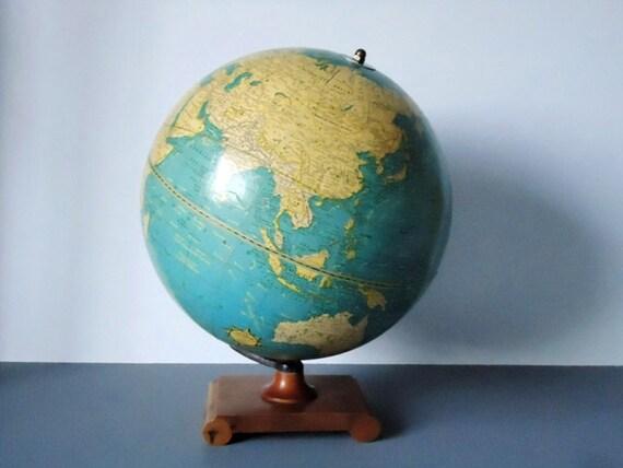 Vintage, 1930s World Globe, Crams 10 in Terrestrial Globe, 1930s Crams Globe, Home Decor, Office Decor