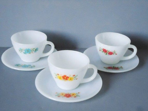 Vintage Fire King - Fire King Tea Cups and Saucers - Instant Teacup Collection - Tea Cup and Saucer Set