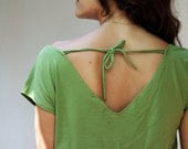 Clearance SALE Women T-shirt with lace stripe, Green womens top