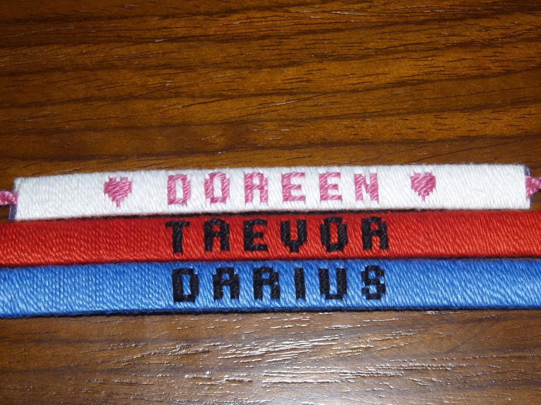 custom woven name friendship bracelets