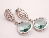 Silver Filigree and Chrysolite Dangle Earrings