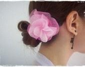Ombre Flower Hair Clip, Bright Pink Hair Accessory, Baby Pink Flower Alligator Clip, Pink Hair Flower Clip, Flower Fascinator, Pastel Clip
