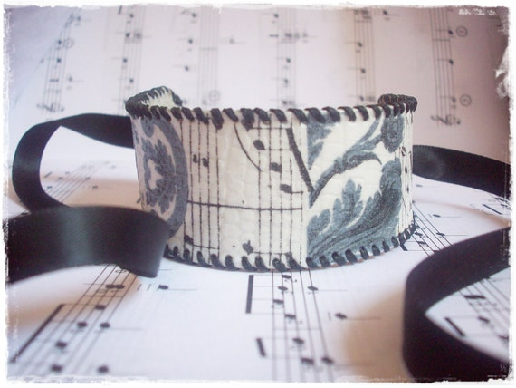 Melodic Black Leather Cuff With Music Sheet