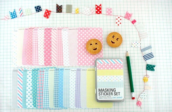 Masking Sticker Set - ver. pastel(Refillable, NonTin Case)korea sticker