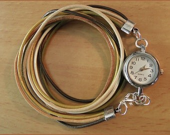 women watch leather silver brown beige nature
