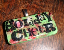 SALE PRICED Red  and Green Holiday Cheer Hand Painted  Domino Pendant  with matching ribbon and cord necklace T704