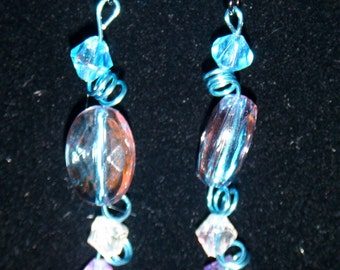 Swirl in Love Hand Crafted Metal and Bead Earrings 1622