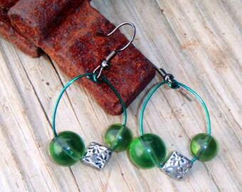 Sage Green and Silver Charm Beaded Hoop Style Earrings item 1627