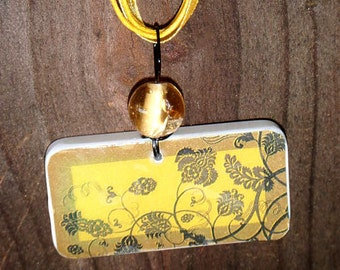 SALE PRICED***The Mustard Garden Domino Pendant with beadwork and free matching Necklace 1418
