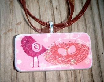 SALE PRICED***Protecting the Nest Bird Domino Pendant with free matching necklace  1440