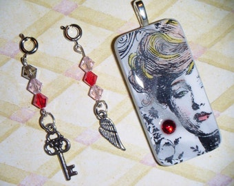 Gibson Girl Domino Pendant with 2 Detachable Charms and free necklace  item 87