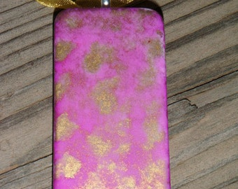 SALE PRICED ***Painted Sunset Domino Pendant with Pink and Gold colors and free necklace  item 56