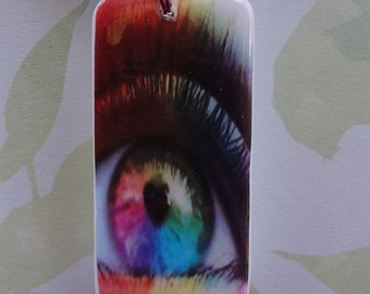 Eyes Wide Open Domino Pendant Rainbow Eye with free matching necklace 405
