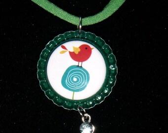 Retro Chick Bottle Cap Necklace with Rhinestone Charm   505