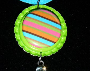 SALE PRICED ******   Im seeing Stripes Bottle Cap Necklace with Rhinestone Charm  504