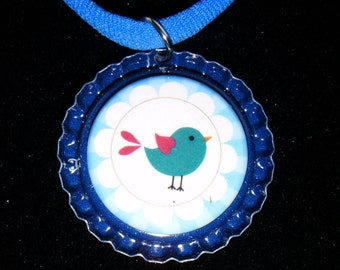 My Peeps Bird Bottle Cap Necklace   513