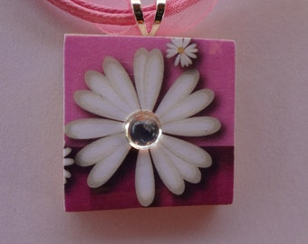 Daisy Game Tile Pendant with Free matching necklace 519