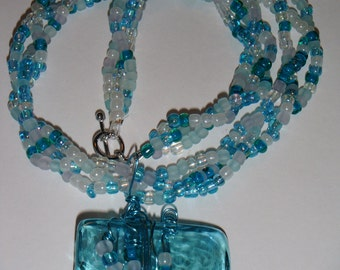 Award Winning Day at the Beach Glass and Bead Handmade Necklace   T402