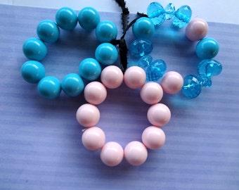 SALE PRICED ***Bauble Bauble  Pink and Blue Set of 3 Bracelets  item 550