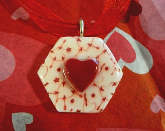 SALE PRICED***Cupids Heart Hexagon Game Tile Pendant with matching ribbon and cord necklace item 545