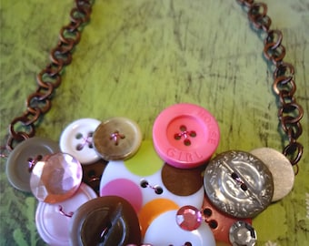 Camo Couture Button Necklace Repurposed  Buttons   Button Jewelry T709
