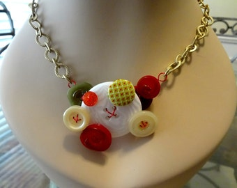 Red White and Green Button Necklace Repurposed Buttons   Upcycled Buttons  Button Jewelry  T725